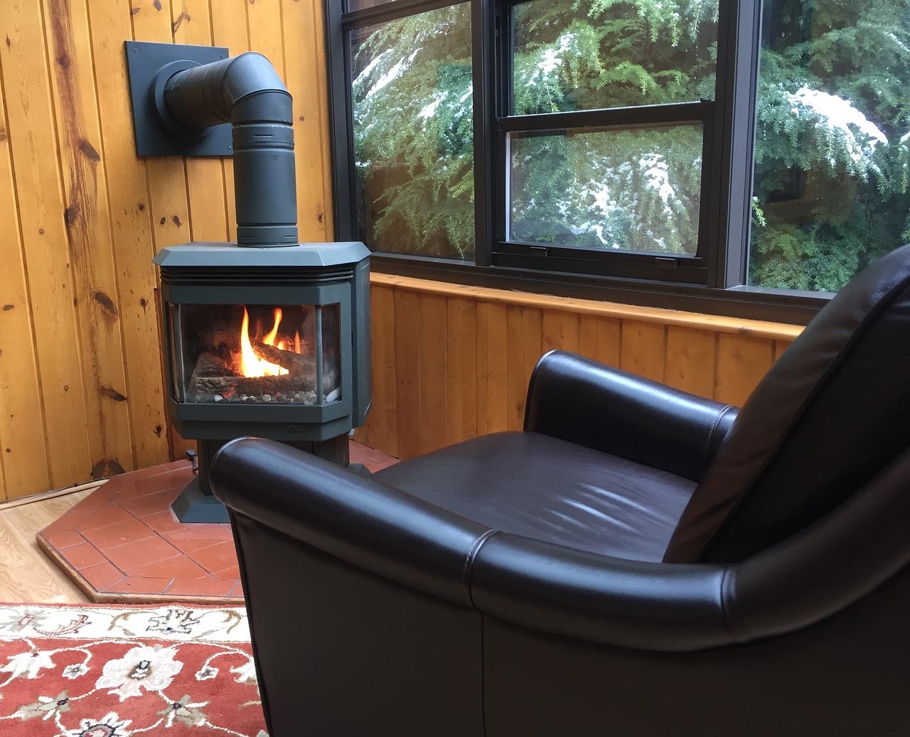 warm cozy room with pellet stove